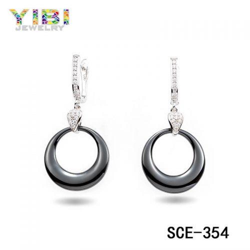 CZ Inlay Women Black Ceramic Earrings