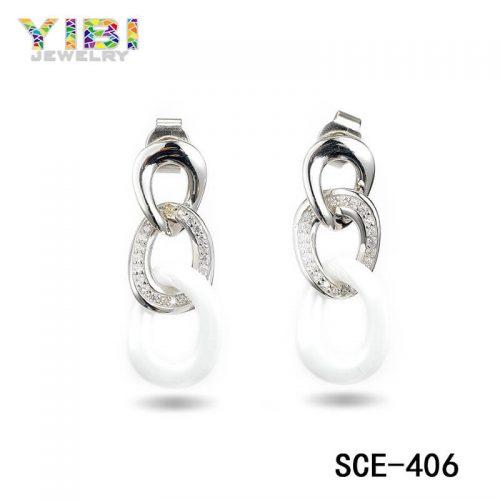 Ceramic Silver Women Earrings