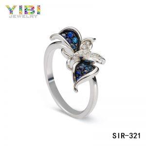 CZ Inlay Women Brass Butterfly Wedding Ring