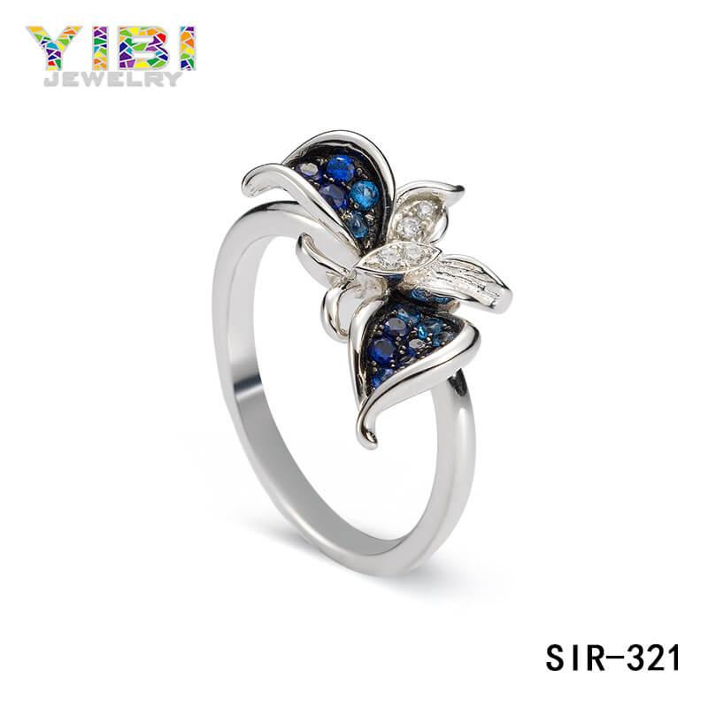 brass butterfly wedding ring