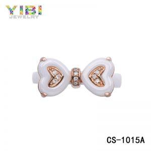 Women White Ceramic Heart Ring