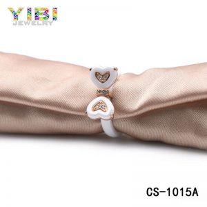 CZ Inlay White Ceramic Heart Ring
