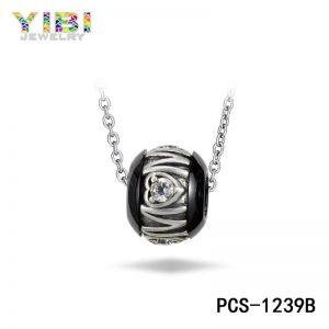 ceramic silver bead necklace