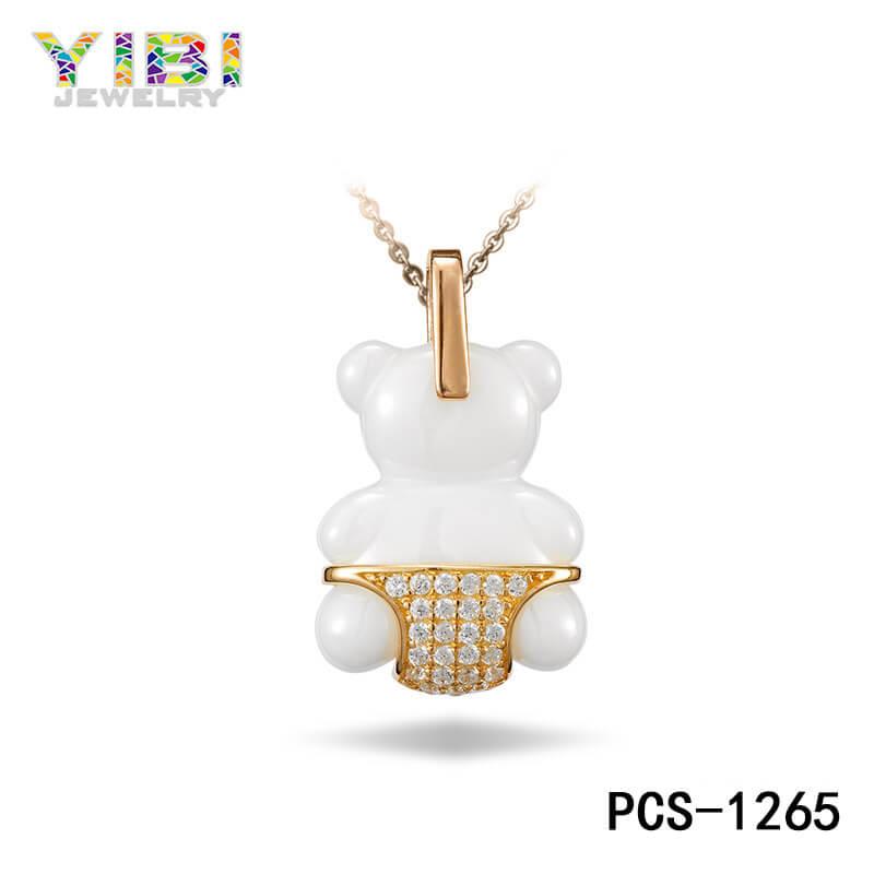 white ceramic cz pendant