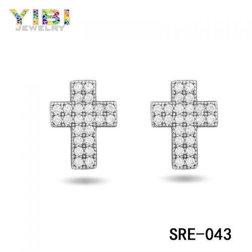 Brass Cubic Zirconia Cross Earring