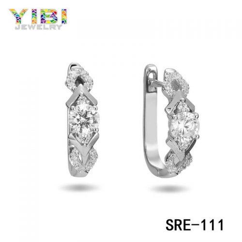 Cubic Zirconia Inlay Women Brass Earrings