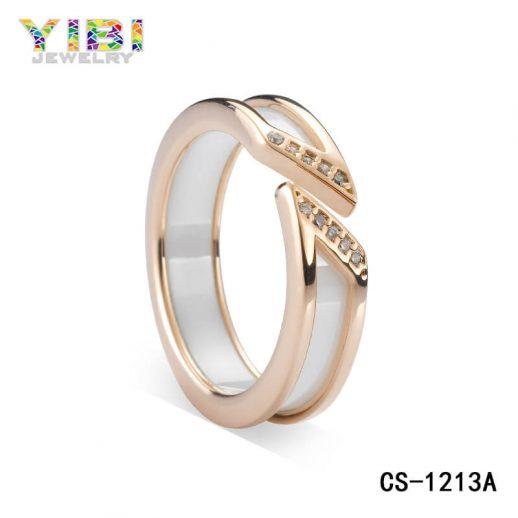 925 Sterling Silver Ceramic Ring