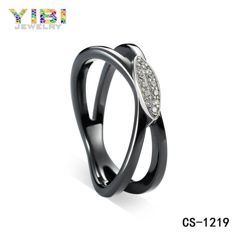 black ceramic cubic zirconia ring