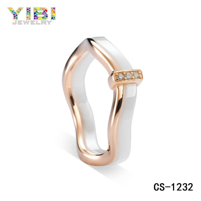 925 silver white ceramic ring