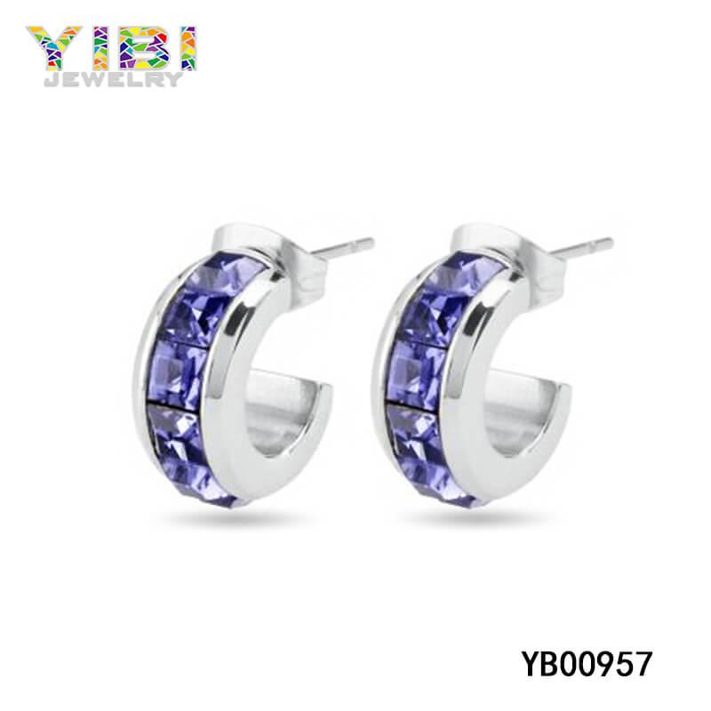 Purple CZ Inlay Stainless Steel Earrings