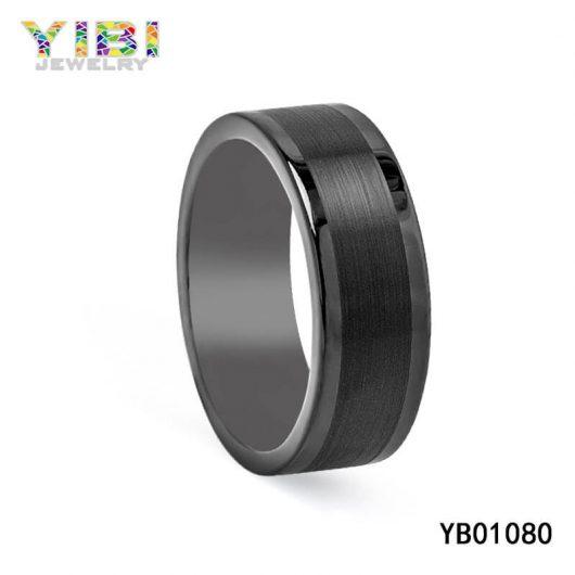 Flat Brushed Black Tungsten Carbide Rings