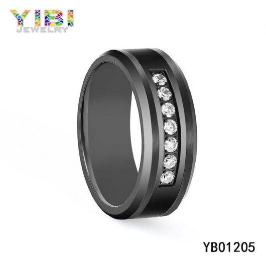Cubic Zirconia InlayBrushed Black Tungsten Carbide Rings