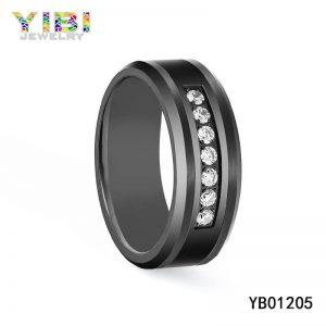 Cubic Zirconia Inlay Black Tungsten Carbide Rings
