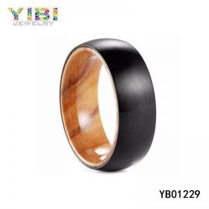 Koa Wood Inlay Brushed Black Tungsten Carbide Rings