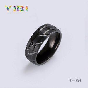 Brushed Finish Black Tungsten Ring