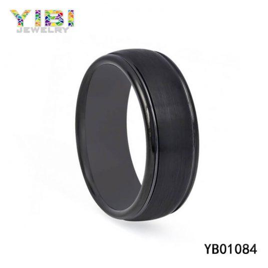 Black Brushed Tungsten Carbide Ring Manufacturer