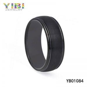 Black Brushed Tungsten Carbide Ring