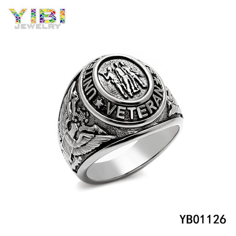 Stainless Steel US Veteran Military Ring