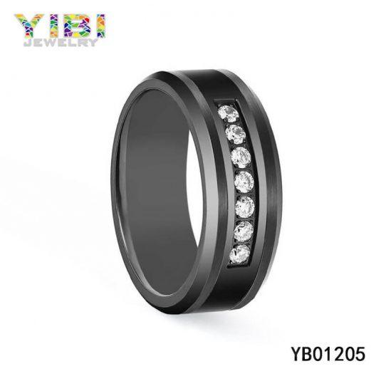 Black Tungsten Carbide CZ Ring Supplier