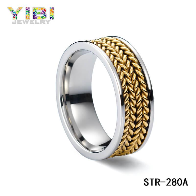 Vergulde 316L roestvrijstalen ring
