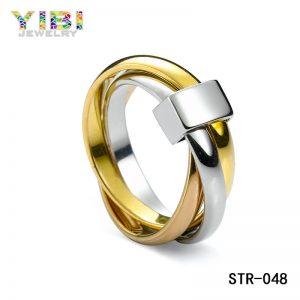 Modieuze Roestvrijstalen Tricyclische Driekleurige Ring