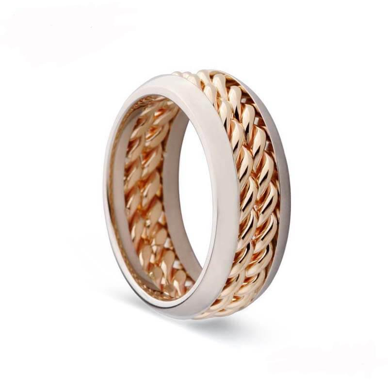 Ring aus gewölbtem 316L-Edelstahl mit rosévergoldeter Beschichtung