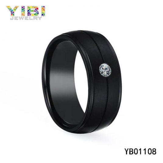 Gewölbter Ring aus Schwarzem Edelstahl Fabrik